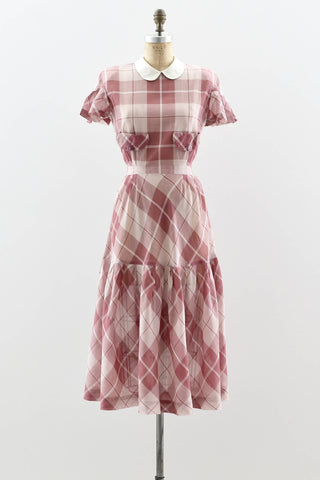 1940s Mauve Plaid Dress - Pickled Vintage