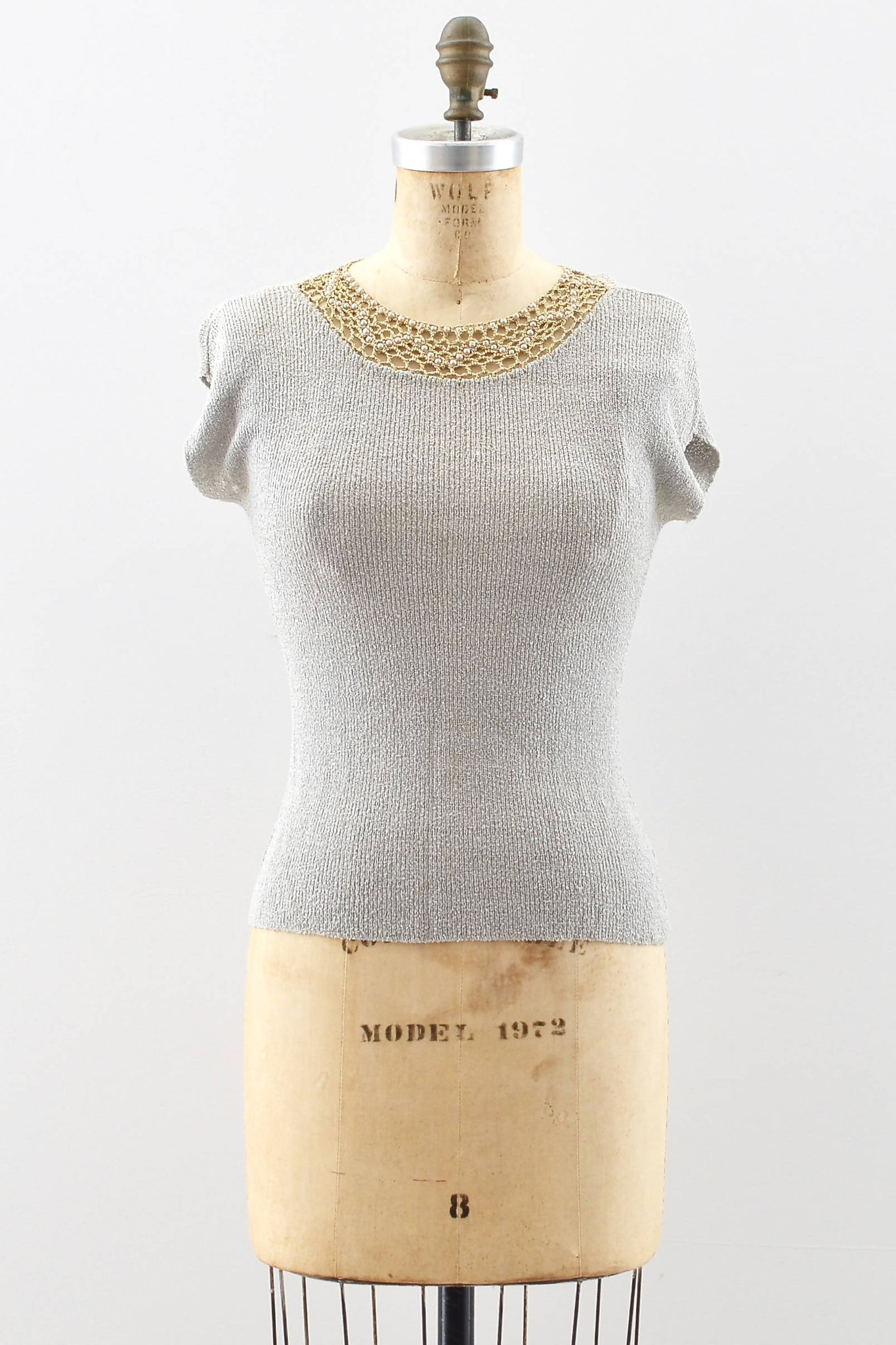 1940s Dove Gray Knit Top - Pickled Vintage