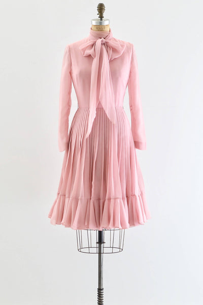 1970s Pink Pleated Dress - Pickled Vintage