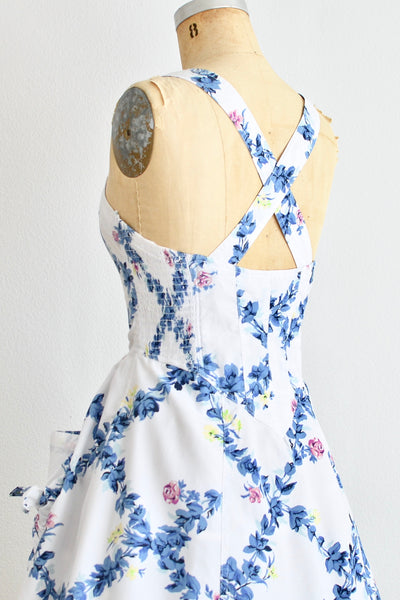 Blue Floral  Sundress - Pickled Vintage