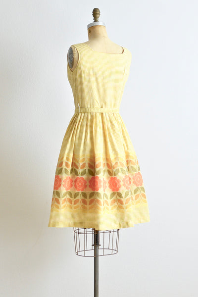 50s Yellow Gingham Dress - Pickled Vintage