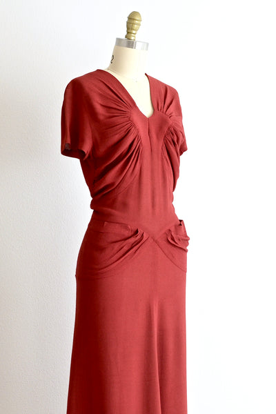30s Ruched Dress - Pickled Vintage