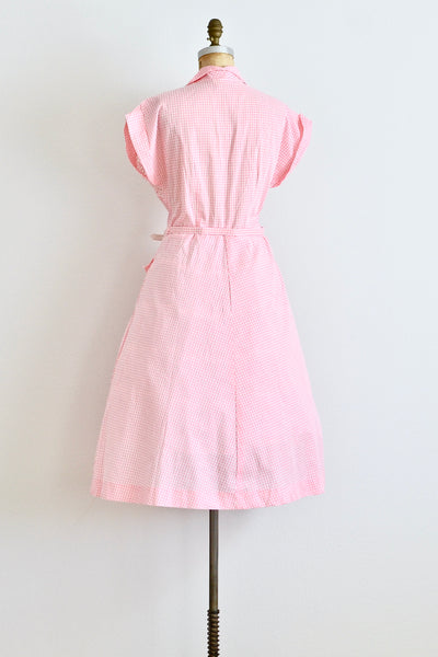 1950s Pink Gingham Dress - Pickled Vintage