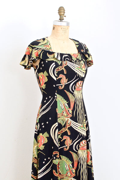 1940s Novelty Print Pake Muu - Pickled Vintage