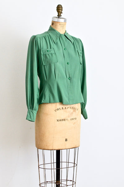 1940s Green Blouse - Pickled Vintage
