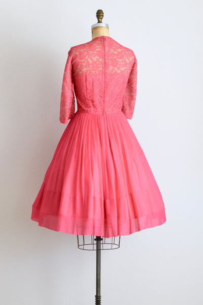 1950s Hot Pink Chiffon Dress - Pickled Vintage