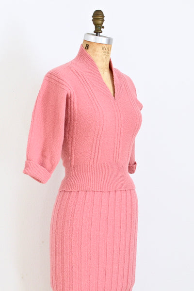1940s Salmon Pink Knit Set - Pickled Vintage