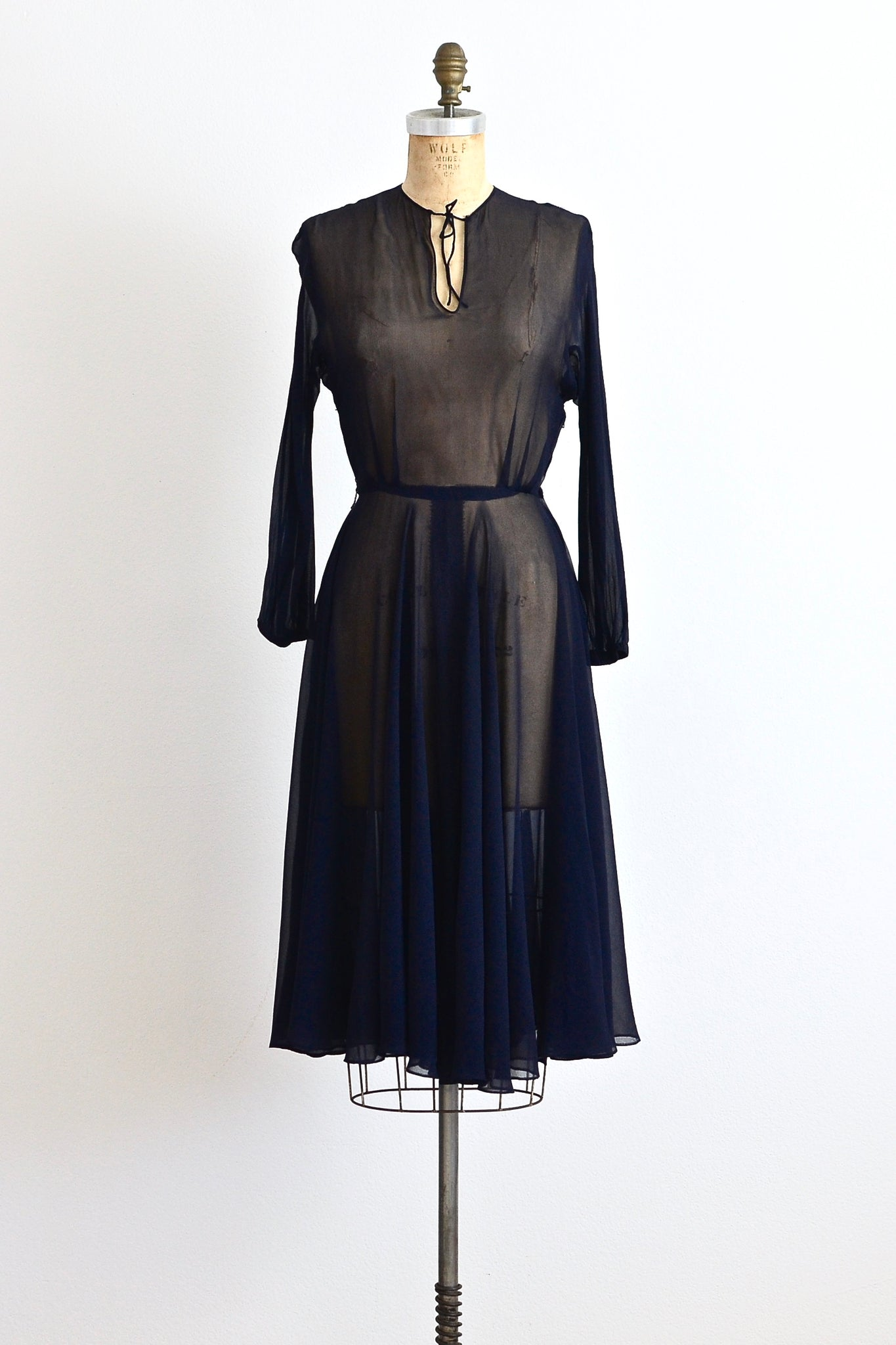 New! - 1940s Navy Blue Chiffon Dress - Pickled Vintage