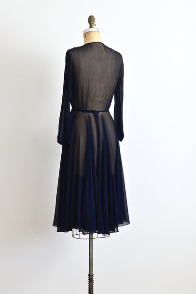 New! - 1940s Navy Blue Chiffon Dress
