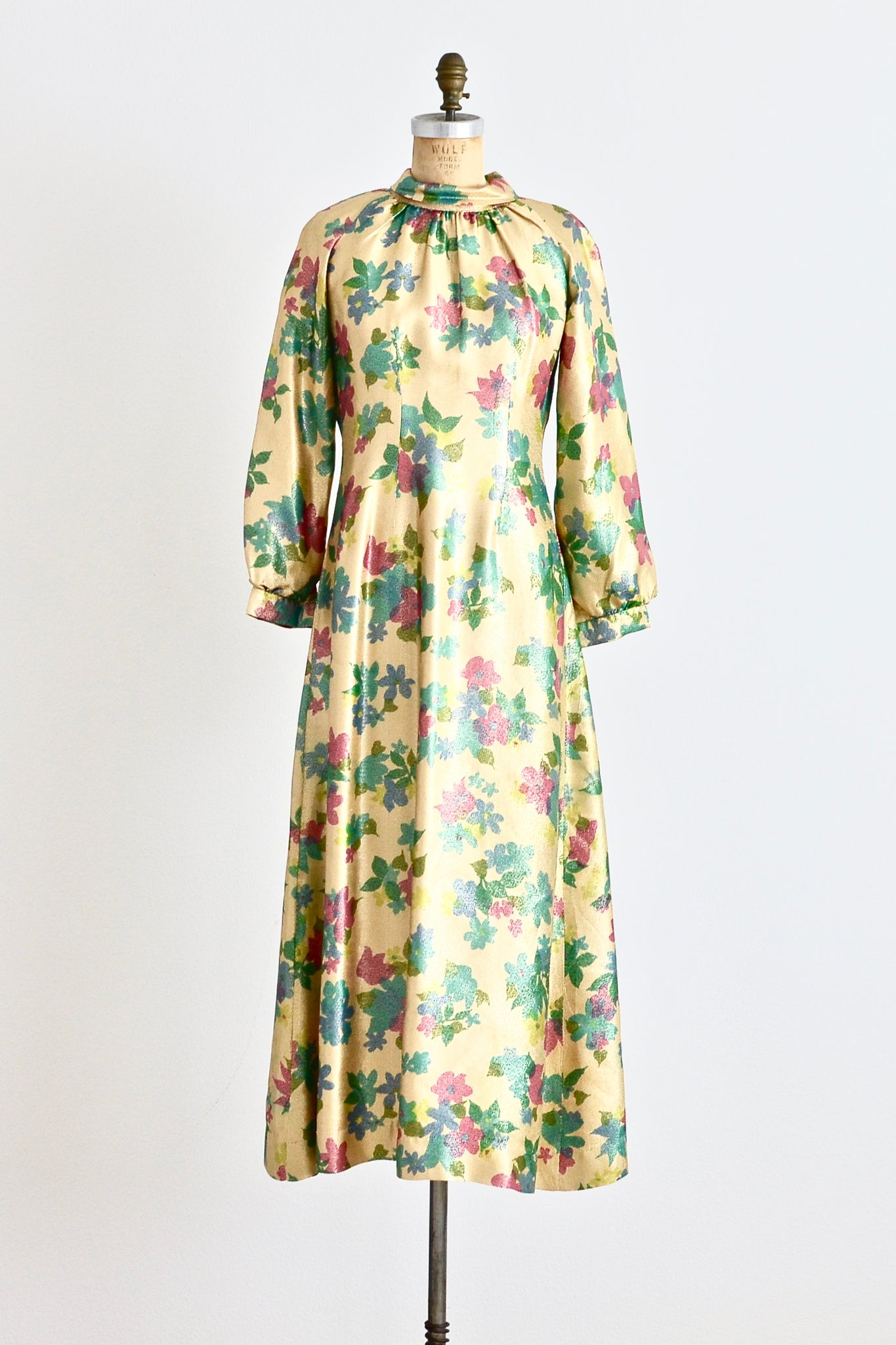 Gold Lamé Floral Dress - Pickled Vintage