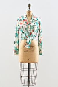 Green Floral Long Sleeve Shirt - Pickled Vintage