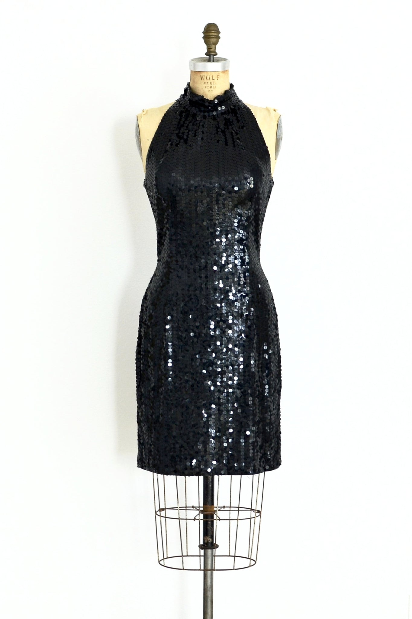Jet Black Sequin Dress - Pickled Vintage
