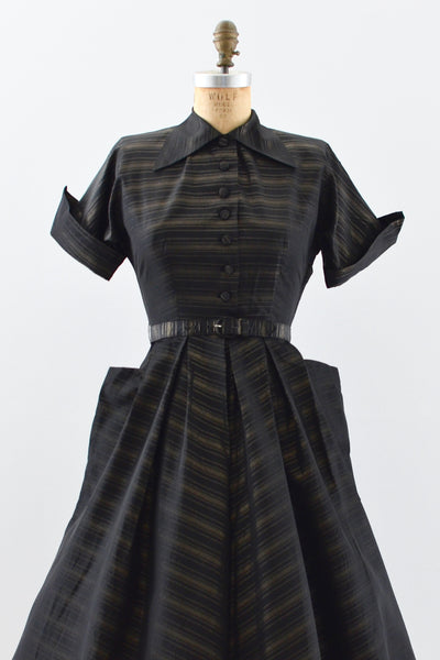 1940s Taffeta Gold Striped Dress - Pickled Vintage