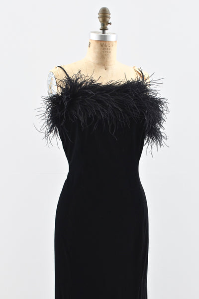 1990s Black Velvet Dress - Pickled Vintage