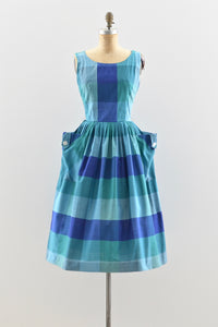 1950s Large Scale Plaid Dress - Pickled Vintage