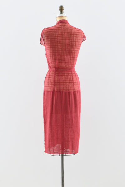 1940s Berry Sheer Dress - Pickled Vintage