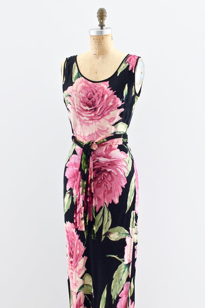 Dark Floral Dress - Pickled Vintage