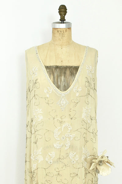 1920s Beaded Silk Dress - Pickled Vintage