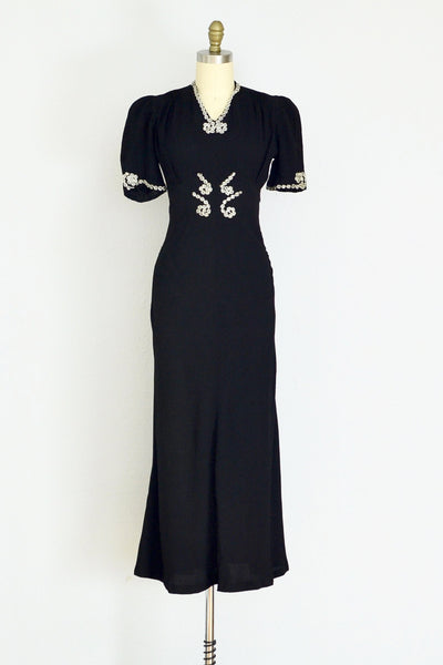 1940s Black Rayon Dress - Pickled Vintage