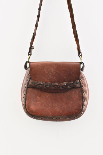 1970s Boho Leather Bag - Medium - Pickled Vintage