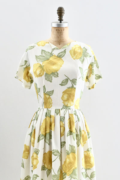 1960s Yellow Floral Print Dress - Pickled Vintage