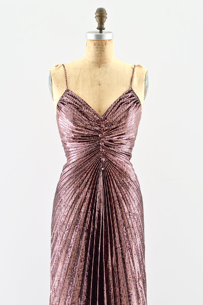 Rosé Gold Metallic Dress - Pickled Vintage