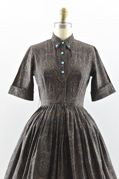 1950s Printed Shirtdress - Pickled Vintage