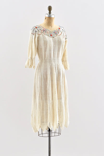 1970s Embroidered Crochet Dress - Pickled Vintage