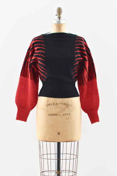 Fiery Cropped Sweater - Pickled Vintage