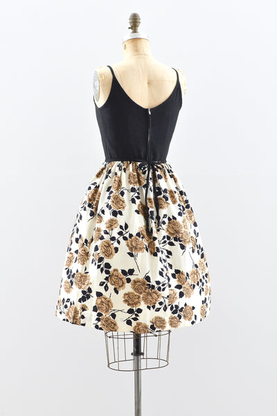 1950s Autumnal Rose Print Dress - Pickled Vintage