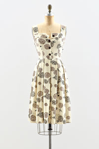 1940s Floral Outline Print Dress - Pickled Vintage