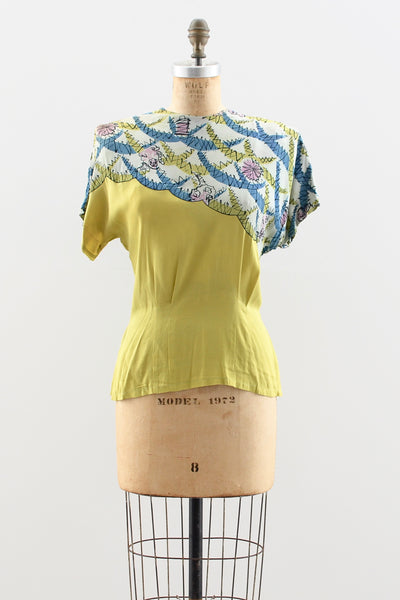 1940s Chartreuse Blouse - Pickled Vintage