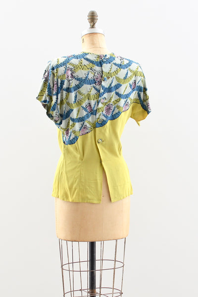 1940s Chartreuse Blouse