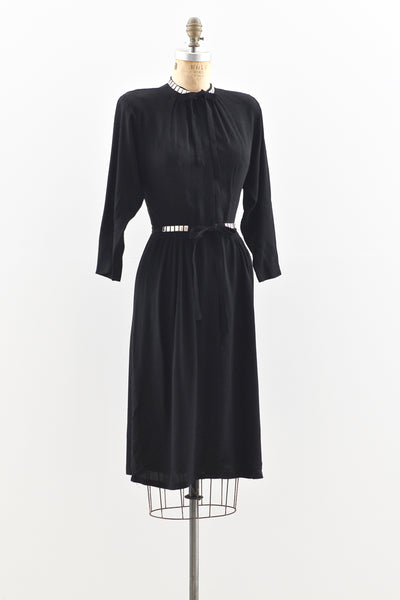 1940s Studded Crepe Dress - Pickled Vintage