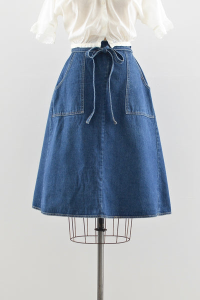 1970s Denim Wrap Skirt - Pickled Vintage