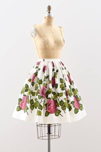 1950s Large Scale Floral Skirt