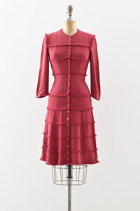1940s Berry Fringed Dress - Pickled Vintage