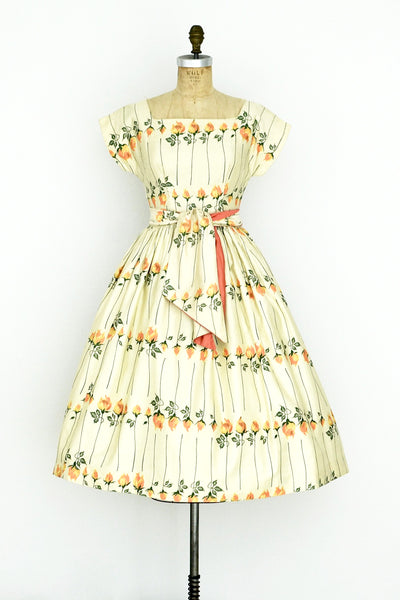 Long Stem Orange Rose Dress - Pickled Vintage