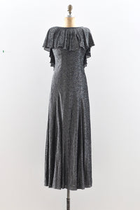 Silver Lurex Maxi Dress - Pickled Vintage