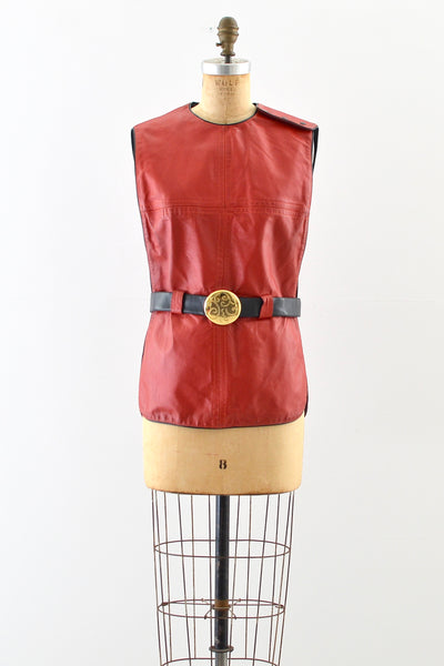 1970s Leather Vest - Pickled Vintage