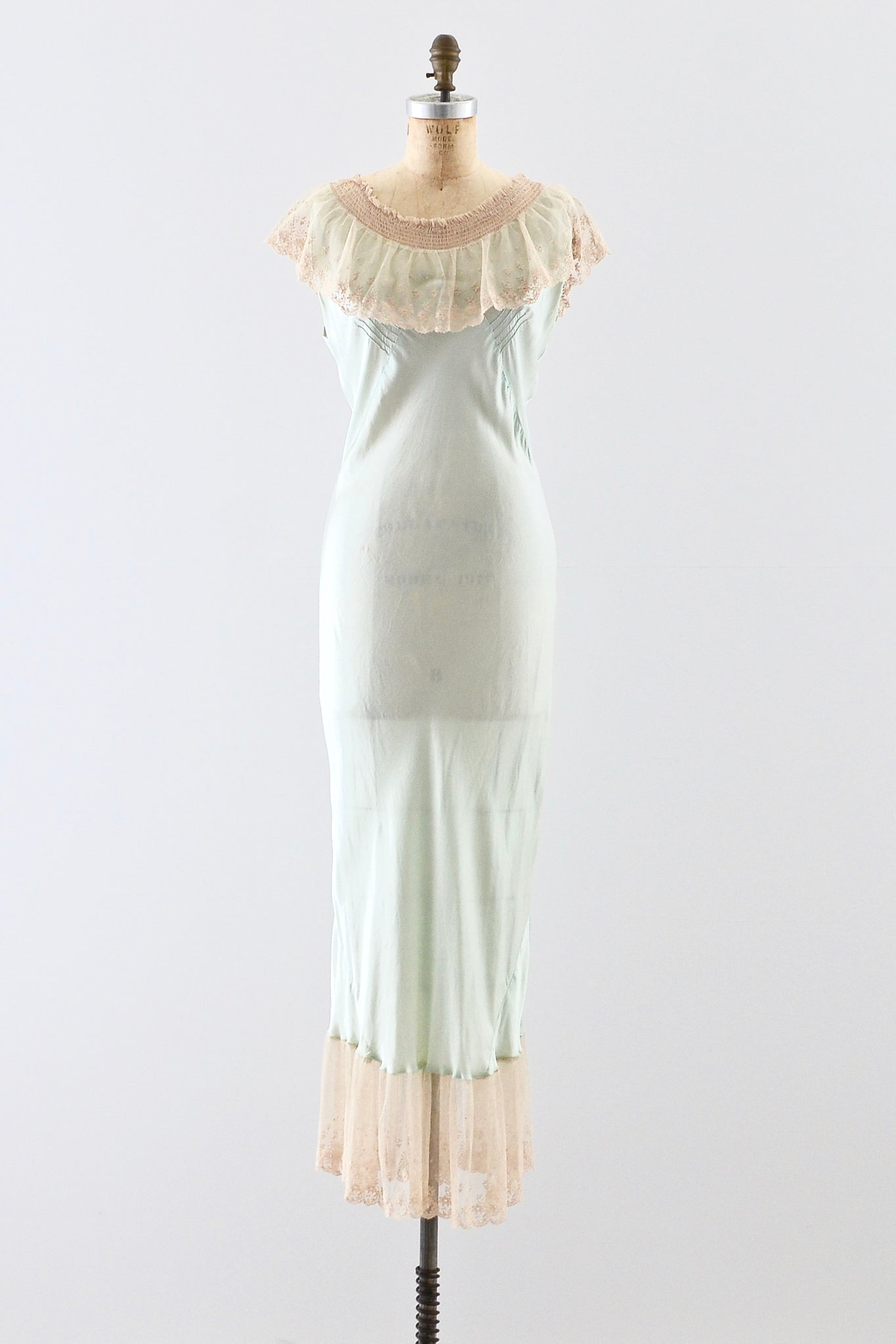 1930s Pistachio Silk Nightgown - Pickled Vintage