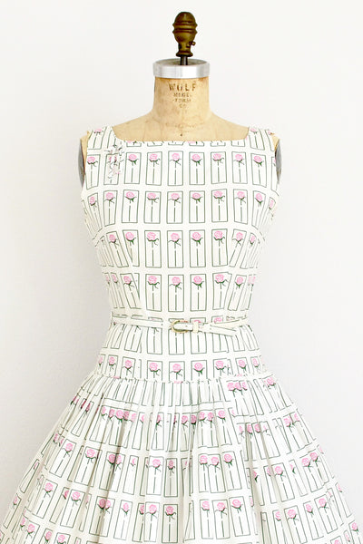 1950s Rose Print Dress - Pickled Vintage