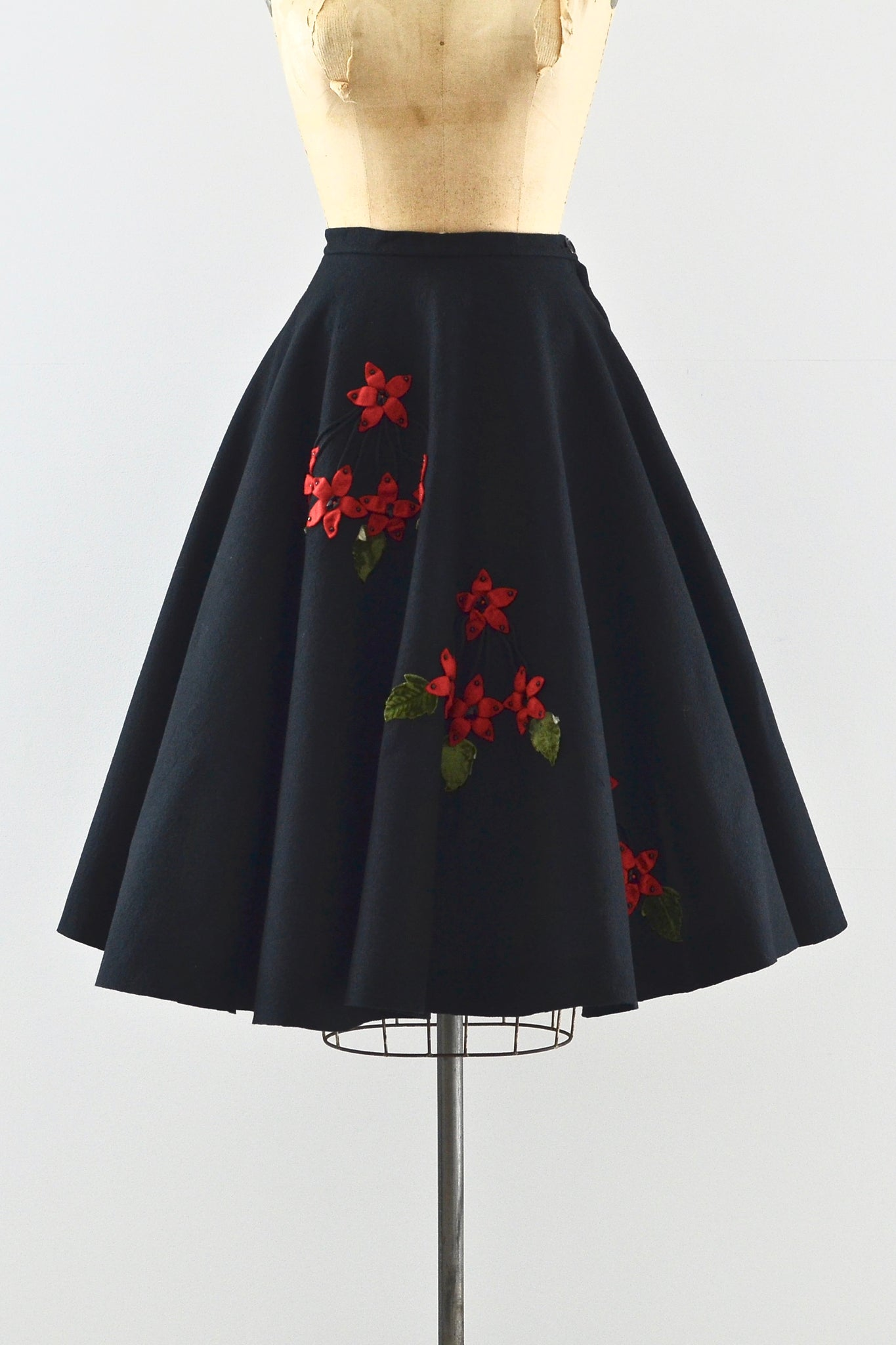 1950s Floral Applique Skirt - Pickled Vintage