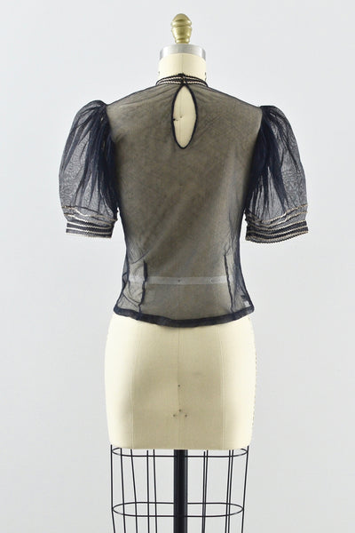 Rare 1930s Black Net Top - Pickled Vintage