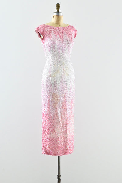 1950s Heavily Beaded Gradient Pink Dress