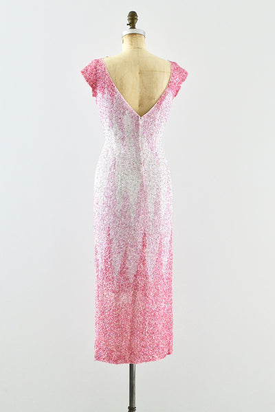 1950s Heavily Beaded Gradient Pink Dress - Pickled Vintage