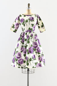 1950s Purple Rose Dress