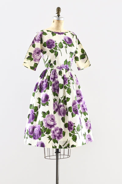 1950s Purple Rose Dress - Pickled Vintage