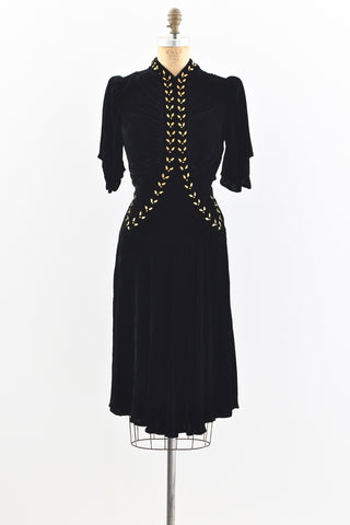 1930s Gold Leaf Studded Dress
