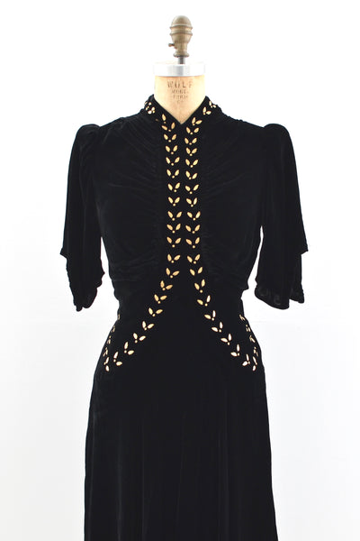 1930s Gold Leaf Studded Dress - Pickled Vintage